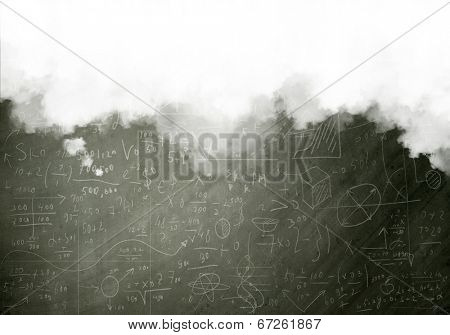 Conceptual background image with sketches and formulas