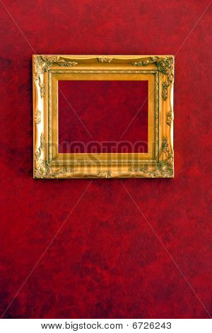 Gilded Gold Frame On Red Wall
