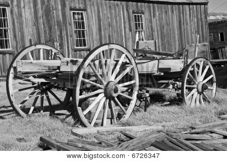 Wooden Wagon In Western Ghost Town, Usa