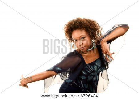 Pretty African-american Woman In Disco Dress