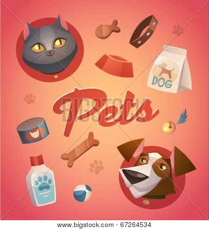 Pets background. Cartoon styled vector illustration.