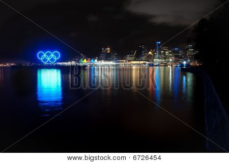 Night Vancouver Skyline With Winter 2010 Olympic Symbol