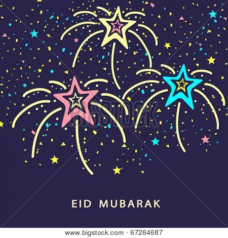 Colourful fireworks on purple background for Muslim community festival Eid Mubarak celebrations.