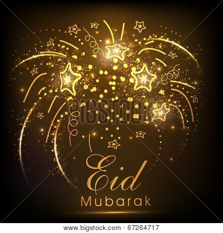 Golden fireworks with stars for celebration of muslim community festival Eid Mubarak.