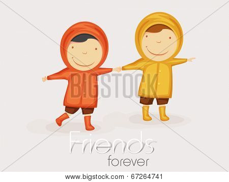 Two cute little friends holding hands together on grey background with stylish text Friends Forever.