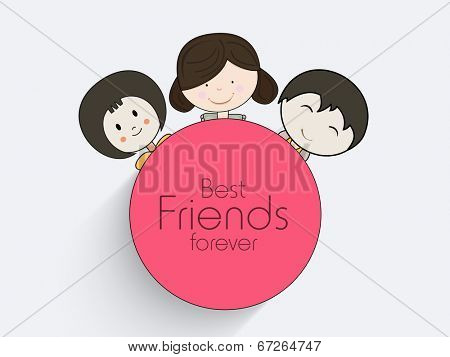 Stylish sticky design with cute little friends and stylish text Best Friends Forever.
