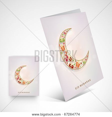 Greeting card design with colourful crescent moon on grey background for muslim community festival Eid Mubarak.