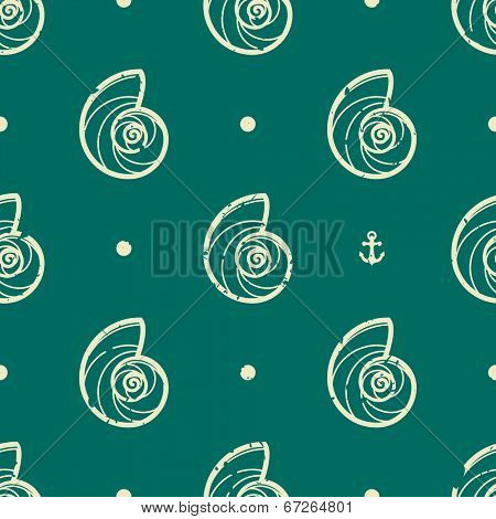 Vintage seashell seamless pattern