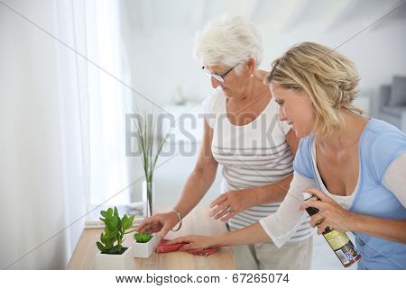 Housekeeper cleaning elderly woman's home
