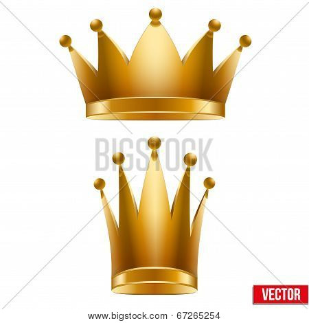 Set Of Gold Classic Royal Crowns. King And Queen. Vector Illustration
