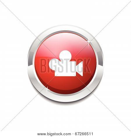 Video Circular Vector Red Web Icon Button