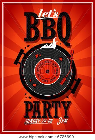 Bbq party design with vinyl record on the grill
