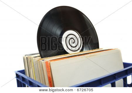 Vinyl Lp Record Collection In Crate