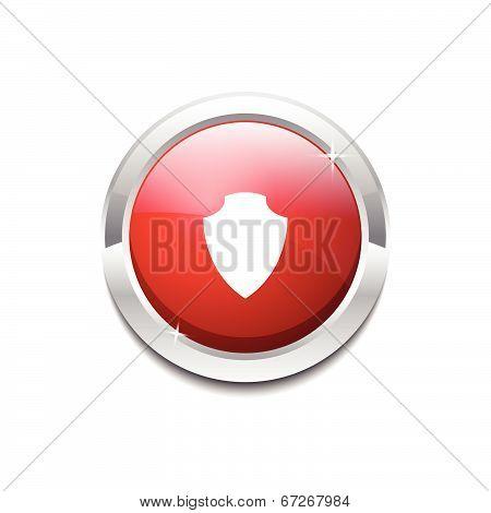 Shield Circular Vector Red Web Icon Button