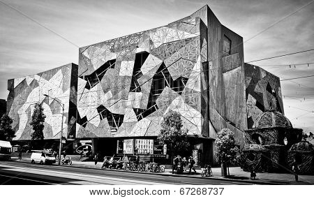 MELBOURNE, AUSTRALIA - OCTOBER 29 2912: Iconic Federation Square celebrated 10 Years.  Since opening on 26 October 2002 it has become one of the most visited attractions in Melbourne