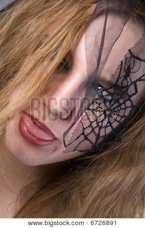 Brunette Model In Goth