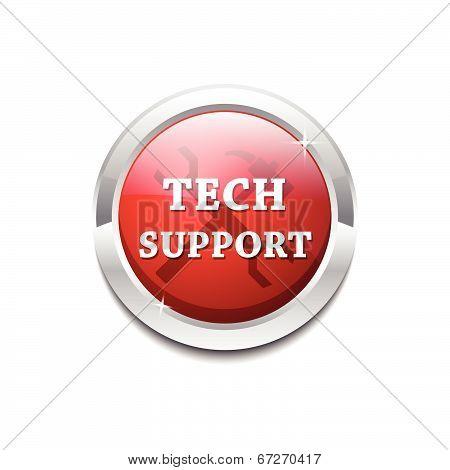 Tech Support Glossy Shiny Circular Vector Button