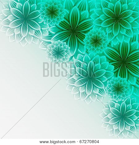 Beautiful Lace Background With Green Flowers