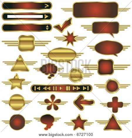 Vector Web Design Elements Collection With Gold Metal Trim