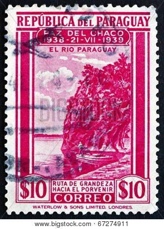 Postage Stamp Paraguay 1940 View Of Paraguay River