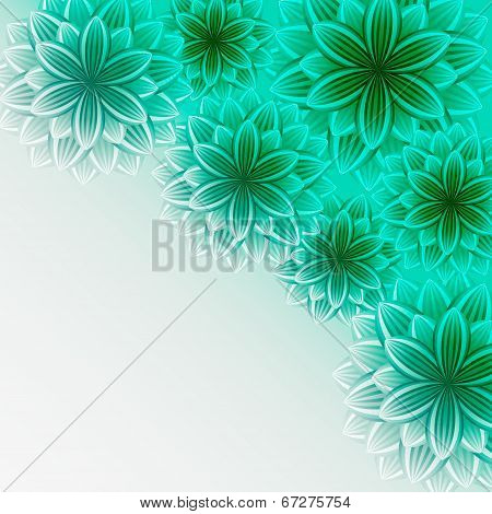 Beautiful Ornamental Background With Green Flowers