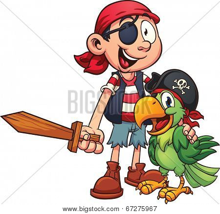 Pirate and parrot. Vector clip art illustration with simple gradients. All in a single layer.