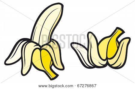 peeled banana and banana