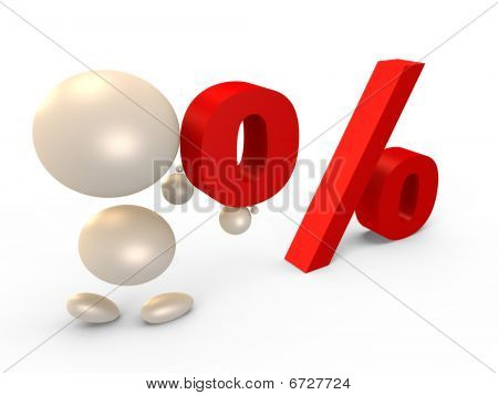 Forming the percent sign, left view - 3D image