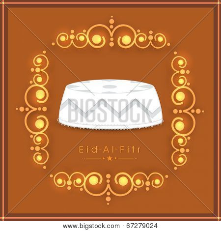 Muslim community festival Eid-Al-Fitr celebration concept with islamic religious cap on golden floral decorated brown background.