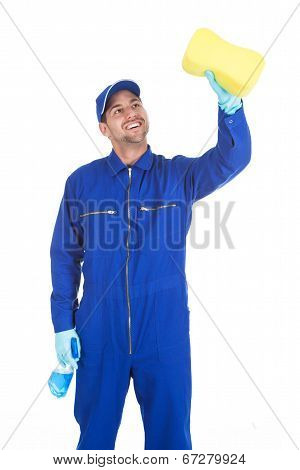 Servant With Spray Bottle And Sponge Cleaning