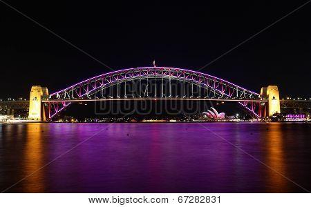 Sydney Harbour Bridge In Pink