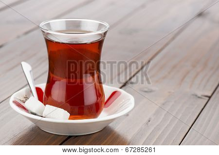 Traditional Turkish tea in traditional glass