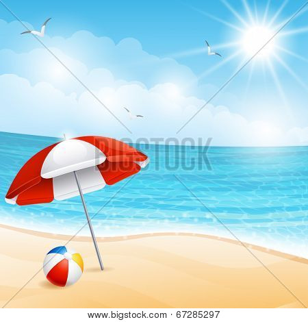 Vector illustration - beach summer scene