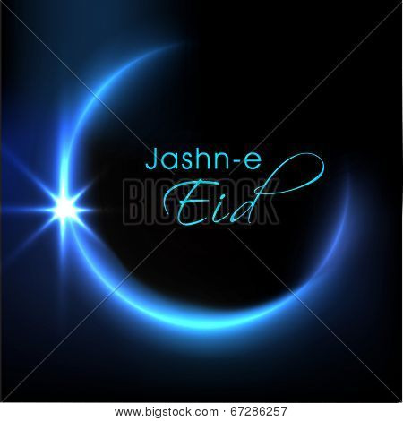 Shiny blue crescent moon with stylish text Jash-e-Eid  for Muslim community festival Eid Mubarak celebrations.