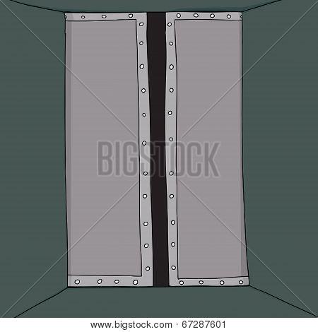 Partially Open Door