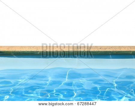 Swimming pool boarder with blue water isolated on white