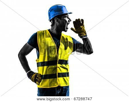 one construction worker screaming with safety vest silhouette isolated in white background