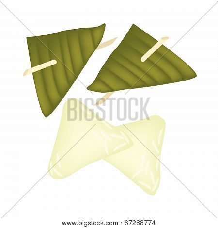 Stuffed Dough Triangle Dessert Wrapped In Banana Leaf