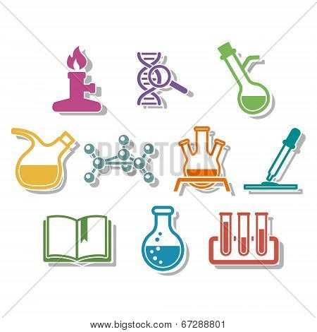 Science and chemistry icon set.