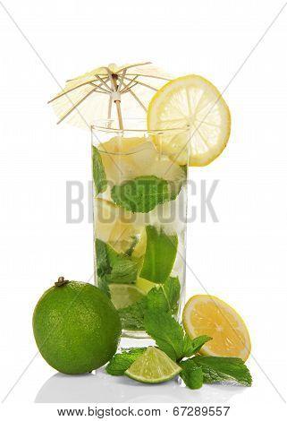 The glass of a cold mojito