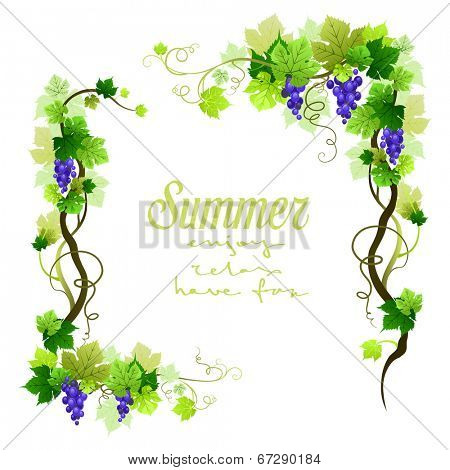 Natural blue vineyard frame with place for text. Vector illustration.