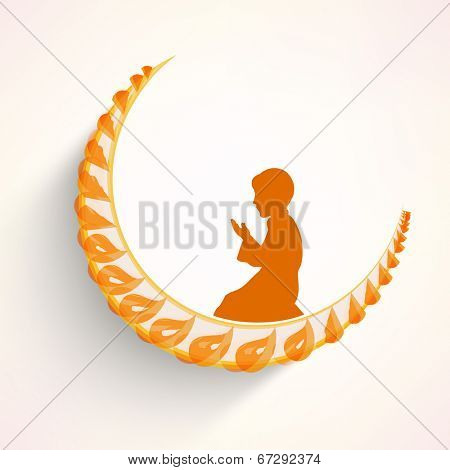 Yellow silhouette of Muslim boy praying on crescent moon for holy month of Muslim community Ramadan Kareem.