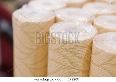 Rolls Of Wall-paper In A Supermarket