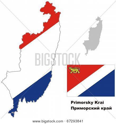 Outline Map Of Primorsky Krai With Flag