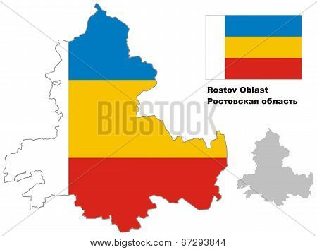 Outline Map Of Rostov Oblast With Flag