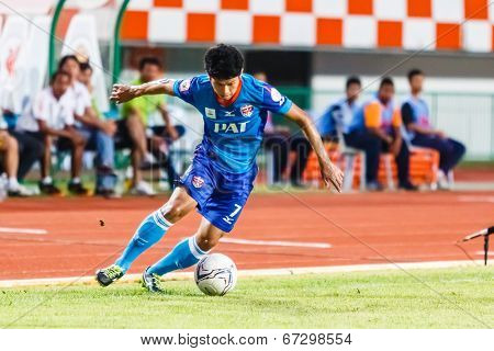 Sisaket Thailand-june 21: Wisarut Wai-ngan Of Singhtarua Fc. In Action During Thai Premier League Be