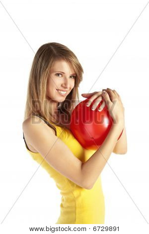 Smiling Blond Girl With Red Ball
