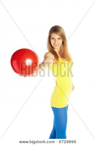 Pretty Blond Girl With Red Ball