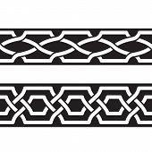 stock photo of ottoman  - Seamless geometric tiling borders - JPG