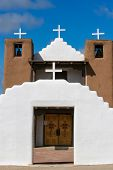 stock photo of pueblo  - View at San Geronimo Chapel in Taos Pueblo USA - JPG